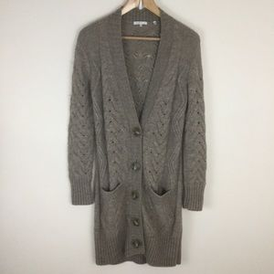 Vince Cable Knit Cardigan Sweater Tan Beige Pocket